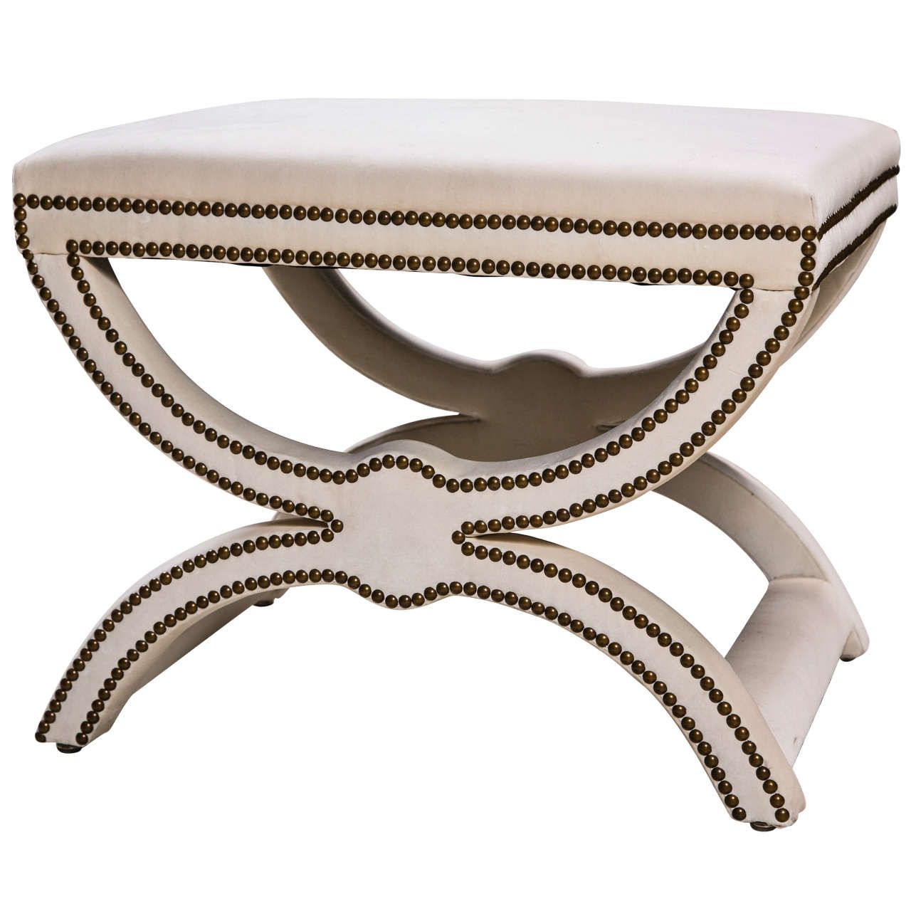 20th C American X Bench with Brass Nailheads at 1stdibs