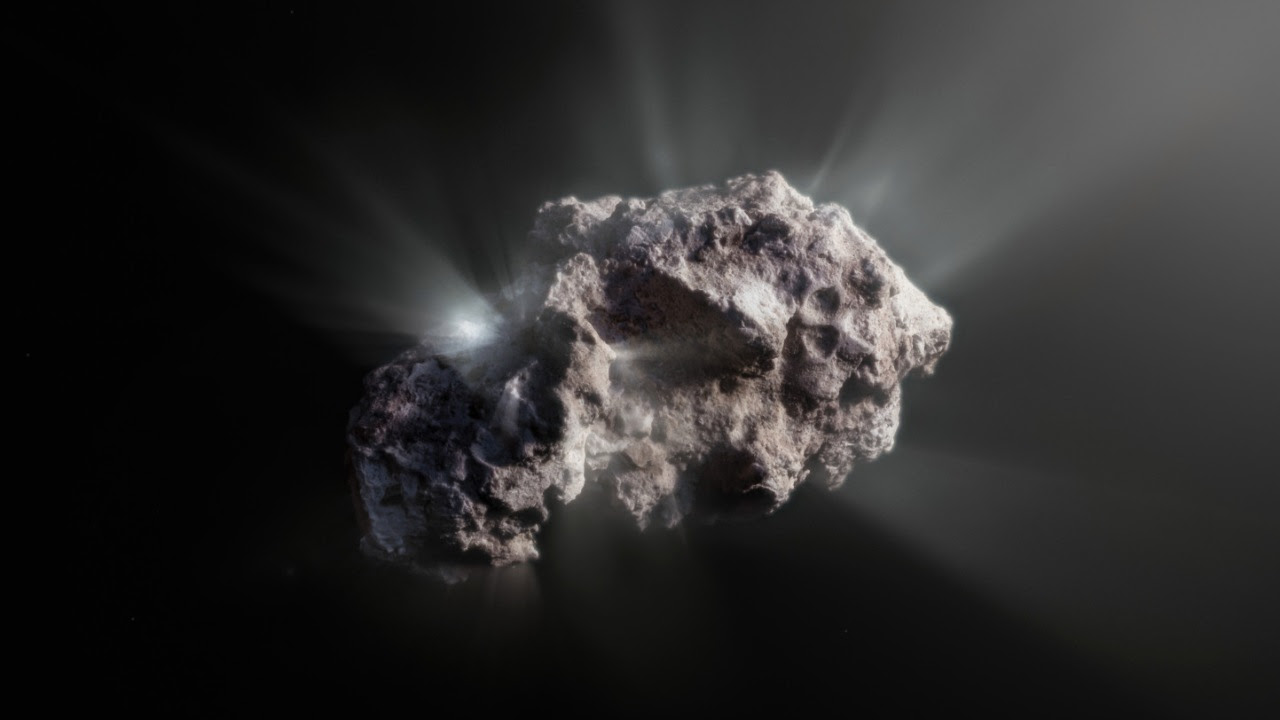This image shows an artist's impression of what the surface of the 2I/Borisov comet might look like. 2I/Borisov was a visitor from another planetary system that passed by our Sun in 2019, allowing astronomers a unique view of an interstellar comet. While telescopes on Earth and in space captured images of this comet, we don't have any close-up observations of 2I/Borisov. It is therefore up to artists to create their own ideas of what the comet's surface might look like, based on the scientific information we have about it.