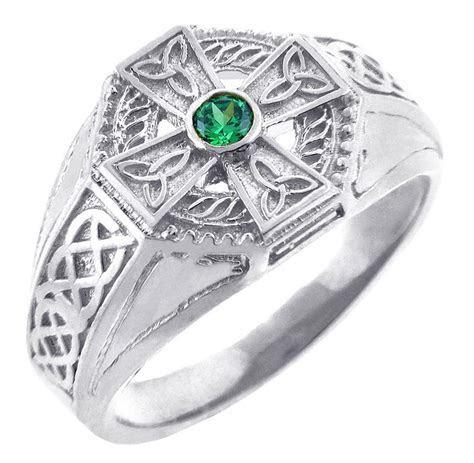 Celtic Ring   Men's White Gold Celtic Cross Ring with