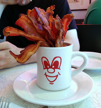 20 slices of maple-cured bacon served up in a Moe mug at The Red Arrow 24-Hour Diner in New Hampshire.