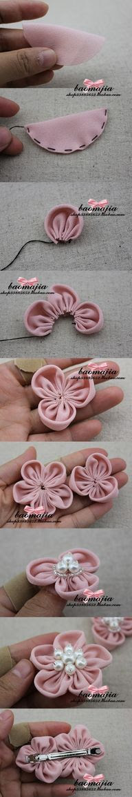 Cute and easy DIY fabric flower pins