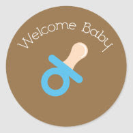 Welcome Baby Blue Pacifier Sticker
