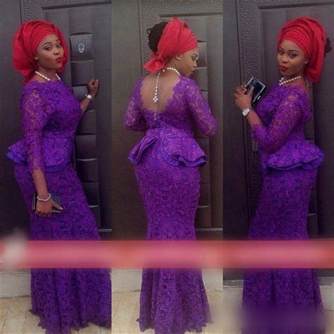2015 Lace Evening Dresses Mermaid Nigeria Aso Ebi Styles