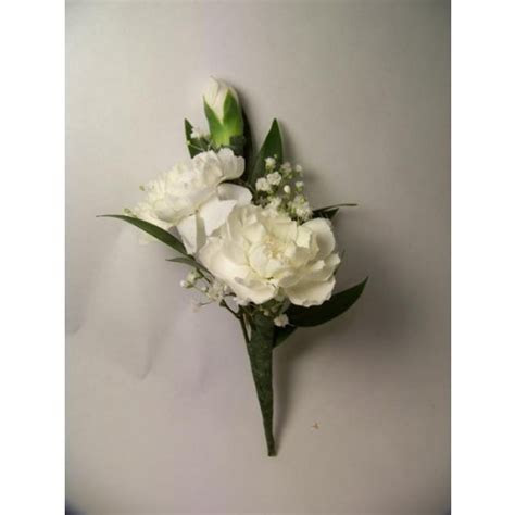 Double Mini Carnation Boutonniere in White   Sparr's