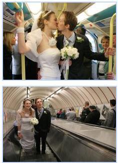 London couple take the Tube to their wedding