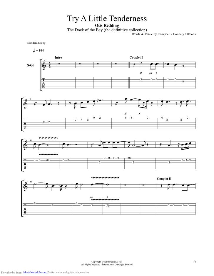 Try A Little Tenderness Guitar Pro Tab By Otis Redding Musicnoteslib Com