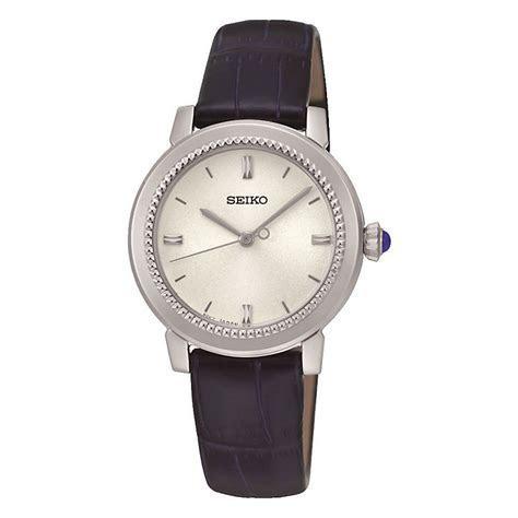 Seiko Ladies' White Dial Dark Blue Leather Strap Watch   H
