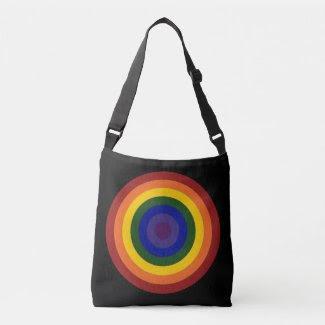 Rainbow Colored Bullseye Design on Black Tote Bag