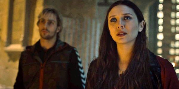 Aaron Taylor-Johnson and Elizabeth Olsen as Quicksilver and Scarlet Witch in 2015's AVENGERS: AGE OF ULTRON.