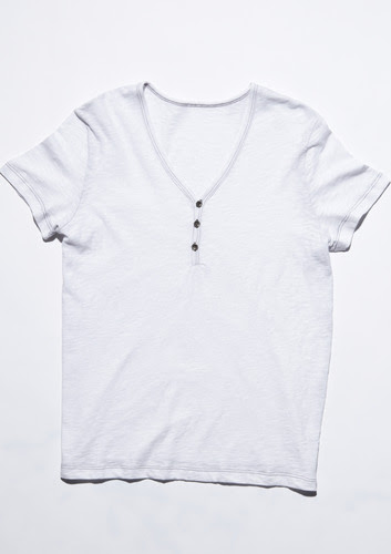 Short Sleeve Slub Henley - White