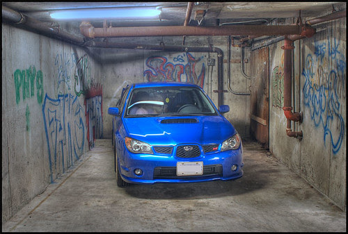 Subaru WRX STI with graffiti