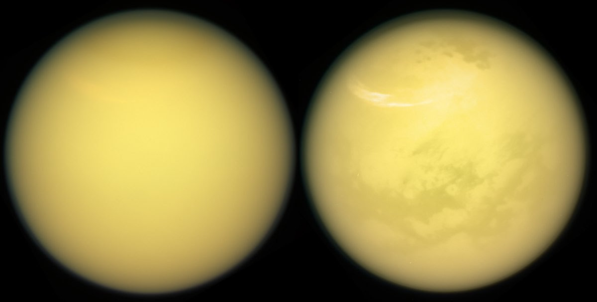 these two views of titan show the new details about the moons surface