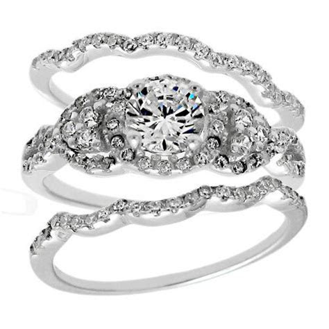 925 Sterling Silver 1.68 Carat CZ Engagement Ring 3 Piece