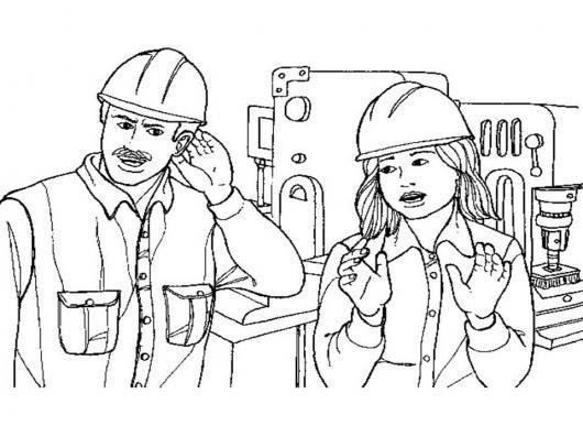 Dibujo De Ingenieros Constructores Para Pintar Y Colorear Colorear