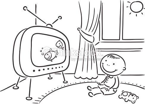 Niño Mira Televisión Arte Vectorial Thinkstock