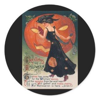 Vintage Lady in Black and Jack o' Lantern sticker