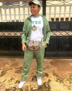 Actress Regina Daniels Rocks NYSC Uniform On Set (Photos)