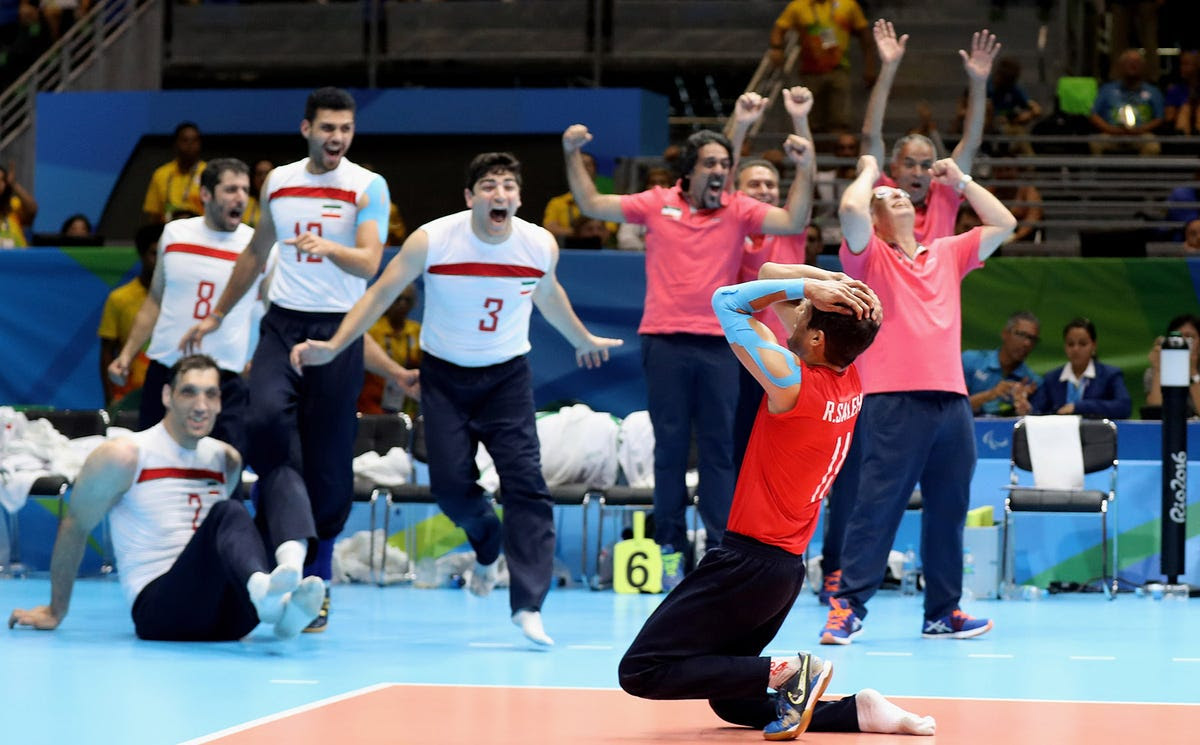 Iran wins gold in sitting volleyball.