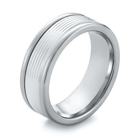 Black Tungsten and 14k White Gold Wedding Ring #103925
