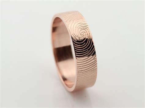 Your Custom Fingerprint Ring   14k Rose Gold Engraving