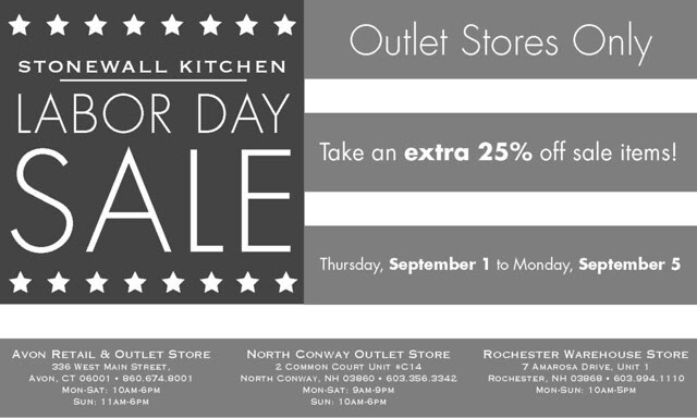 Stonewall Kitchen It 39 S Time To Stock Up For Fall Labor Day Outlet Sale