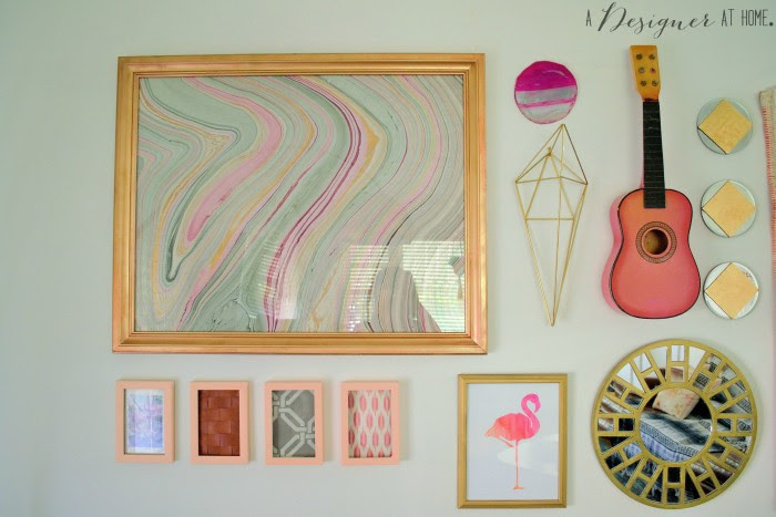 frames marbled paper and a flamingo! eclectic at it's best!