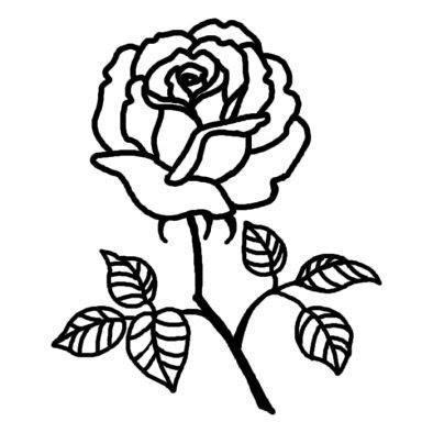 バラ4バラ薔薇花無料白黒イラスト素材