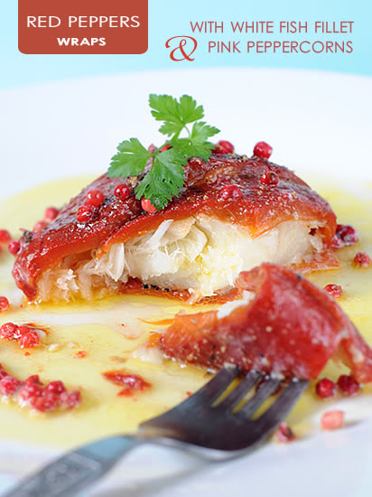 Involtini di peperoni rossi con filetto di pesce e pepe for Red fish fillet