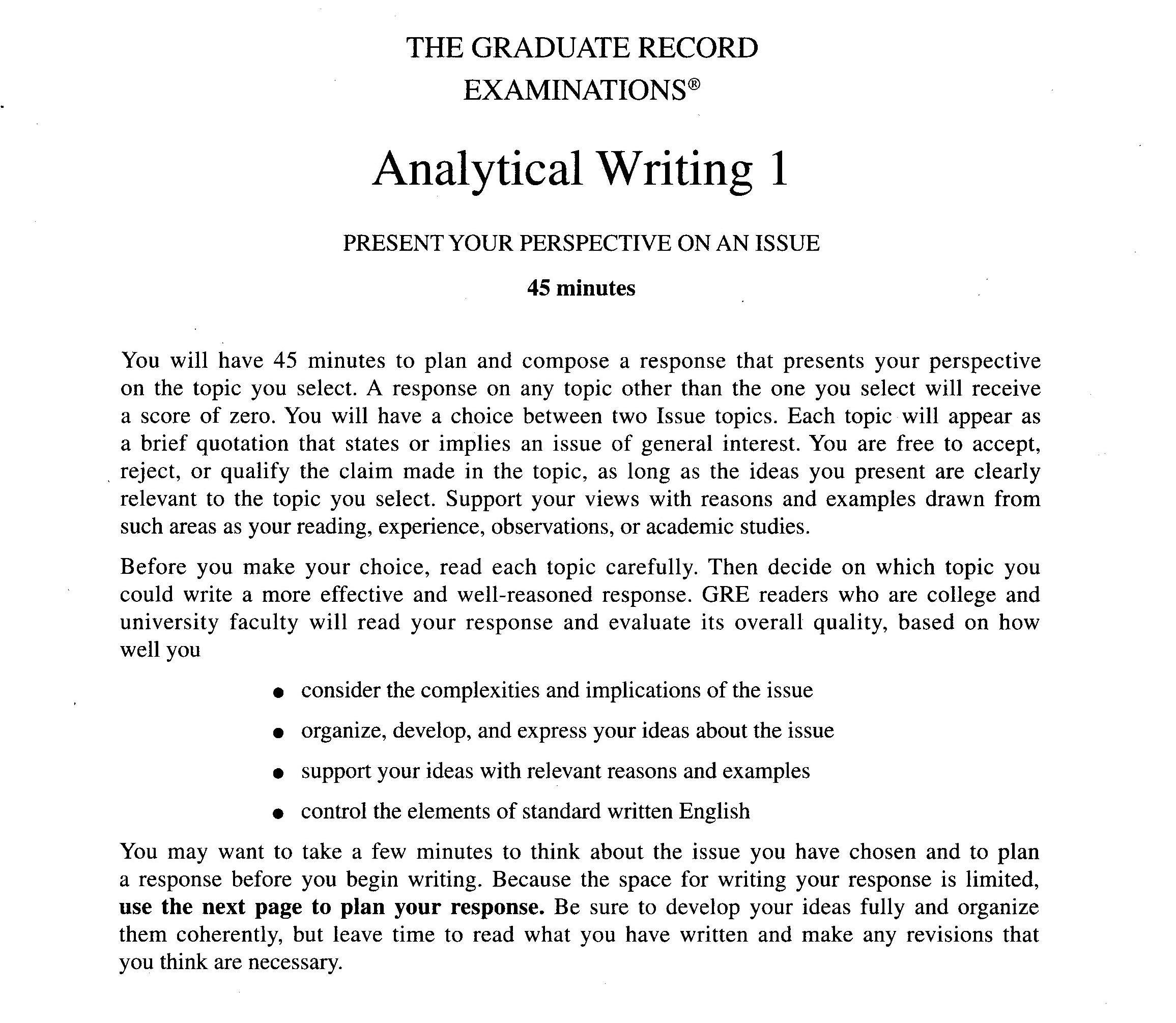 gre analytical writing issue essay examples