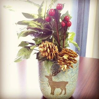 Day 16 #yarnpadc Holly. The boss bought these for our offices. #reindeer #planter