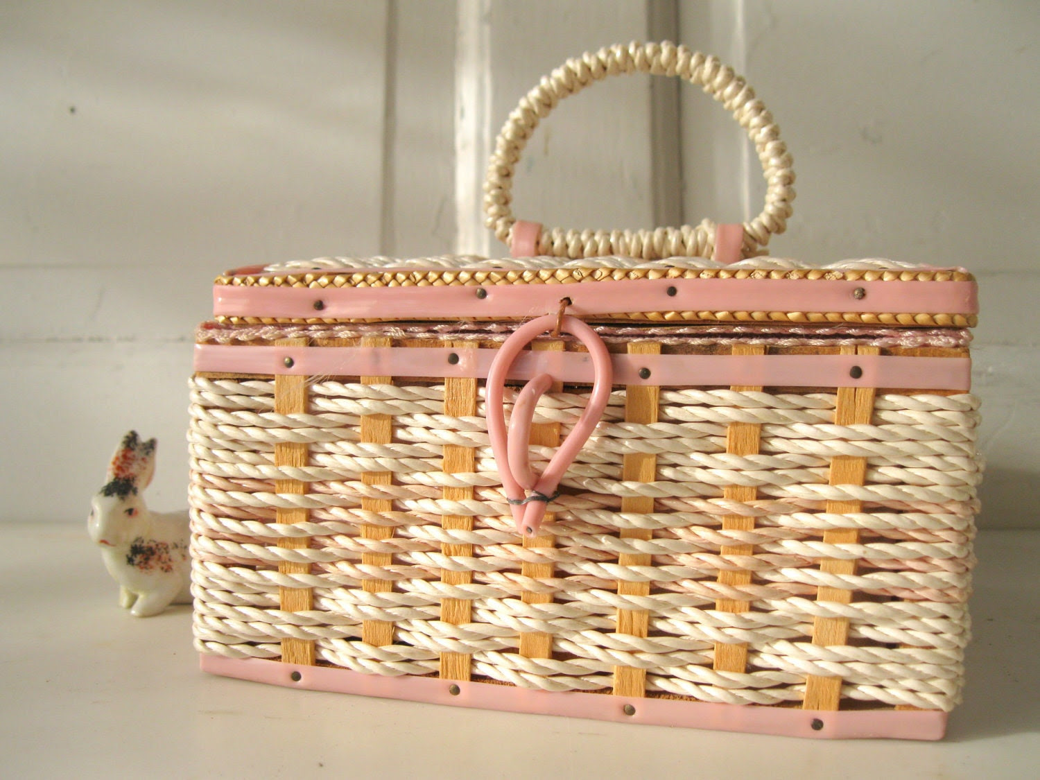 Vintage Pink and Cream Sewing Basket, Mid Century, from Tessiemay