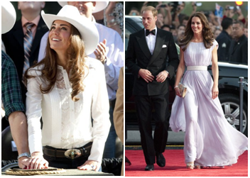 Get the Kate Middleton Hair Style - Kate in white cowboy hat, Kate in lavender