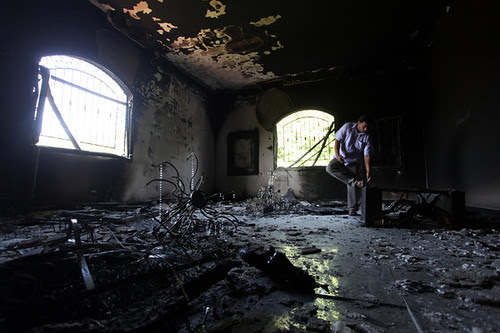 Inside the former US Consulate in Benghazi in the aftermath of an attack that resulted in the death of the American ambassador and other personnel. Rebel government forces say the attack was planned. by Pan-African News Wire File Photos
