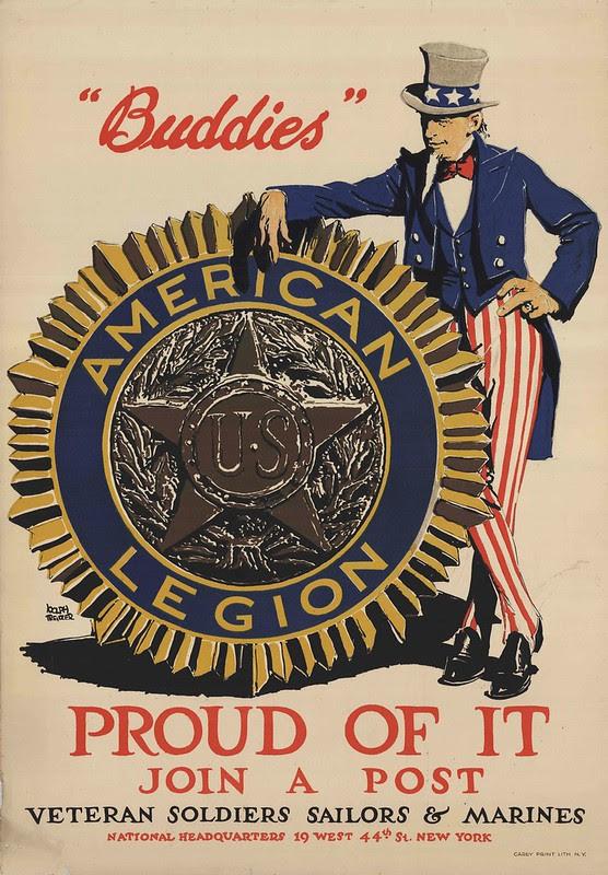 illustration in colour of Uncle Sam leaning against legion medallion