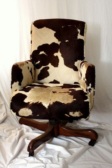 Hank Snow COWHIDE Swivel Chair  Brown White Cow Hide