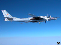 A photo released Japan's defence ministry purporting to show a Russian Tupolev 95 flying over the Izu Islands, 9 February 2008