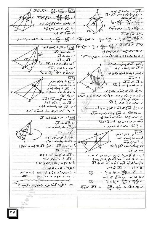 المراجعة النهائية ومراجعة ليلة الامتحان فى الهندسة الفراغية للصف الثالث الثانوى