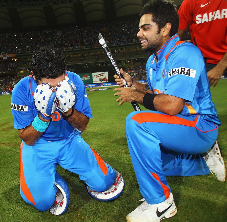 Yuvraj Singh can barely control his emotions, while Virat Kohli is all smiles