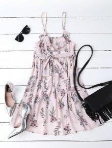 Floral Print Flounced Beach Dress