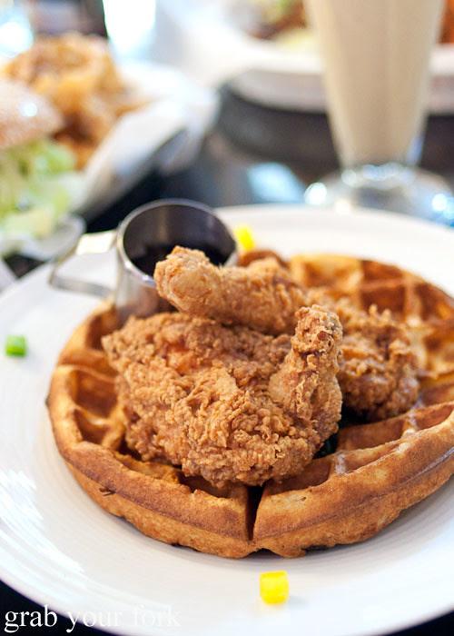 fried chicken and waffles at jazz city diner darlinghurst