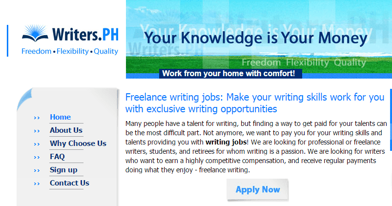 Writers_Ph Homepage Screenshot