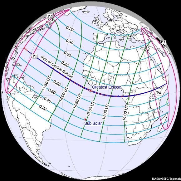 Schematic of Solar Eclipse November 3, 2013
