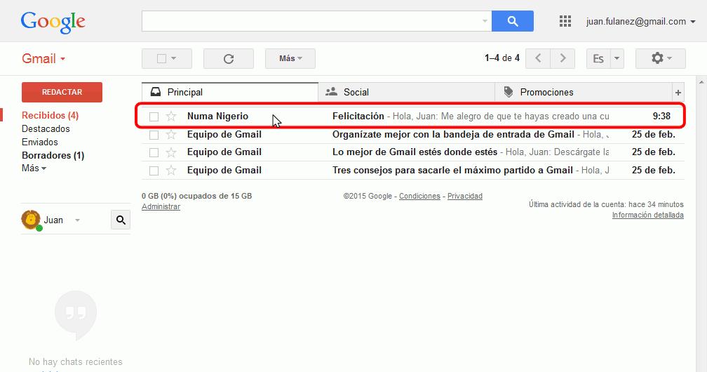 Gmail. Añadir nuevo contacto