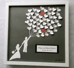 Wedding guest book alternative 3D paper hearts lovely