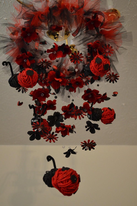 Floating LadyBug Mobile Black/Red Nursery Decor, Baby shower gift