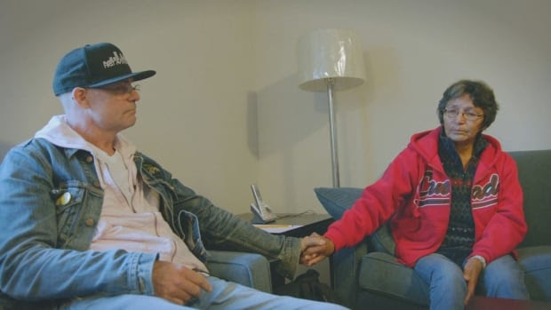 Musician Gord Downie meets with Charlie Wenjack's sister Pearl Wenjack in Marten Falls First Nation last month.