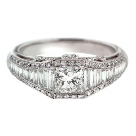 Antique Princess Cut Diamond Engagement Ring   Mouradian