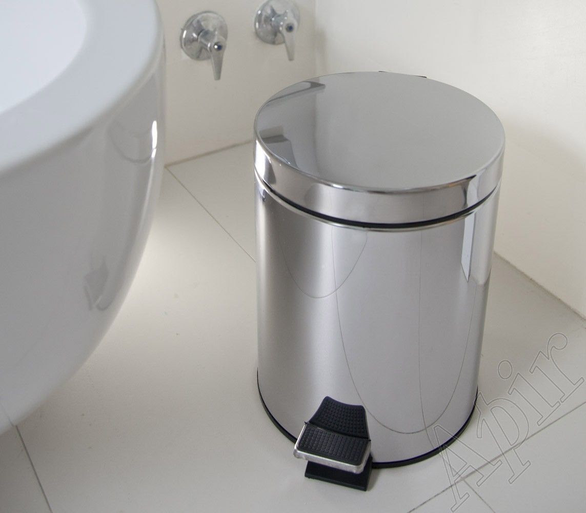 Kitchen Trash Can Bathroom Stainless Steel Foot Operated