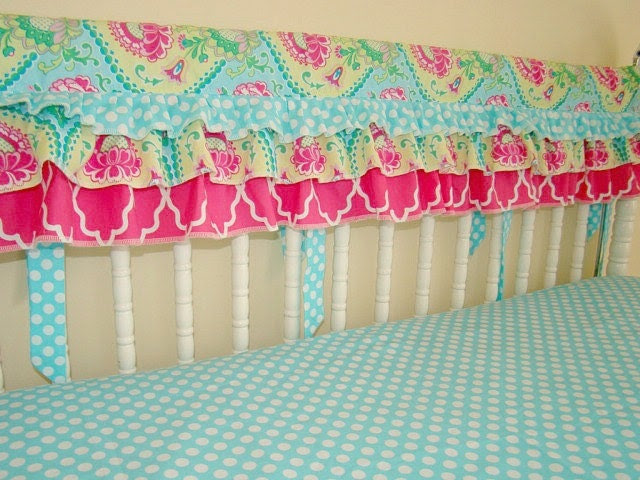 Ruffled Bumperless Crib Bedding. Bright Teal and Hot Pink Teething Guard, Crib Rail Cover and Fitted Crib Sheet. - LinenBaby