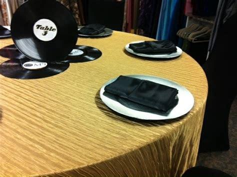 motown theme vinyl record centerpiece gold crinkle table
